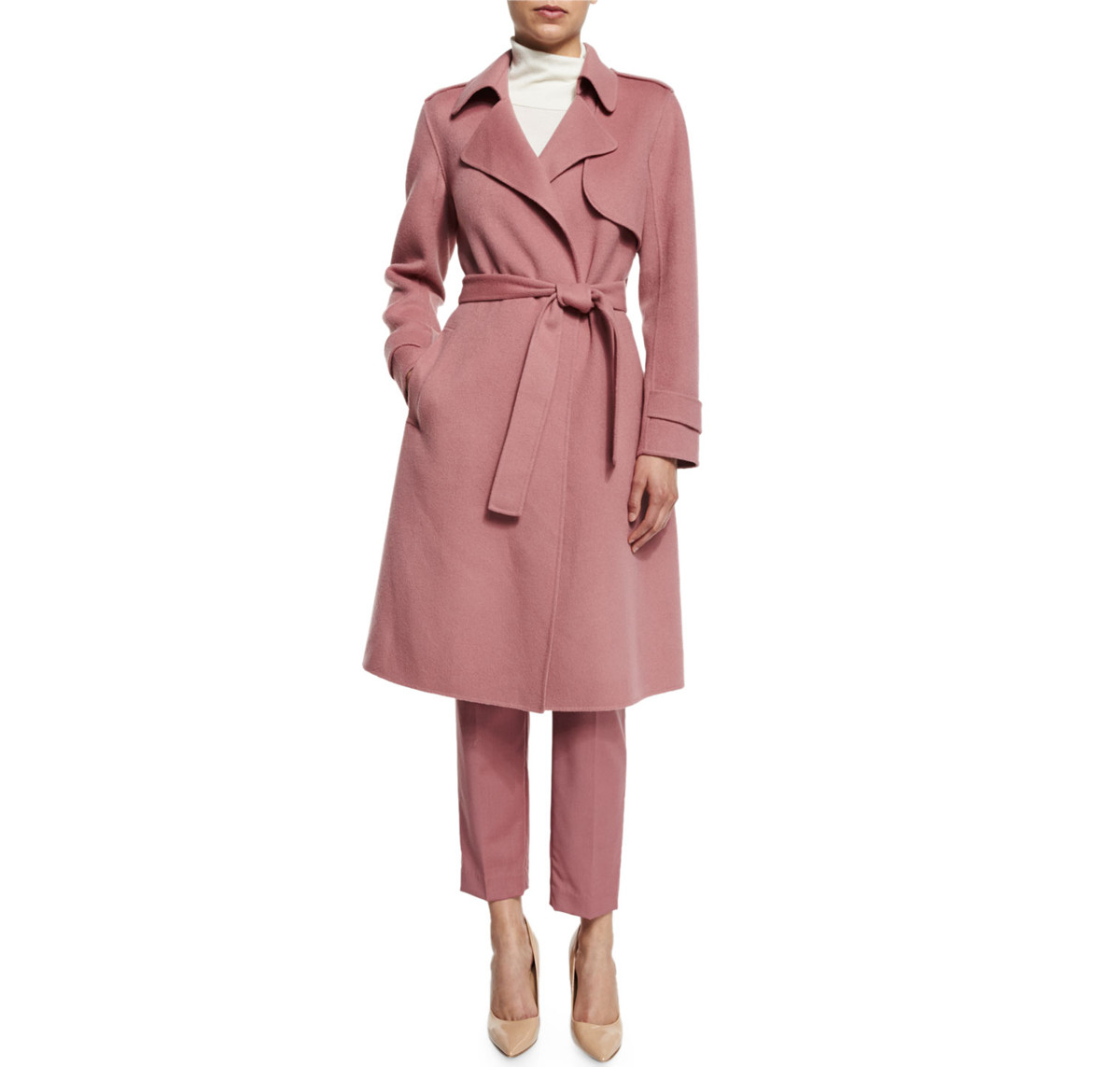 Theory Oaklane Trench coat in Pink Willow